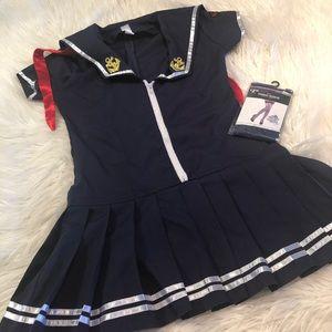 Navy sailor dress and tights